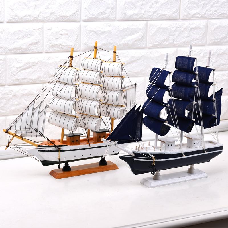 品美 一帆風順帆船模型擺件實木質工藝船 家居地中海裝飾品