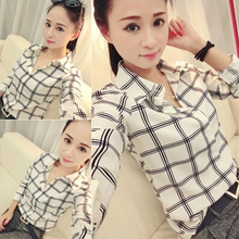 Women's grid printed shirts of new fund of 2015 autumn female han edition cultivate one's morality joker lapel shirt long sleeve students