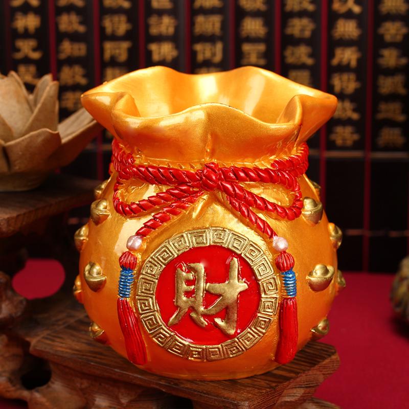 聚緣閣招財聚財金錢袋擺件存儲錢罐工藝飾品 存錢罐工藝品