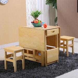 实木折叠餐桌折...