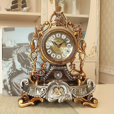 丽盛欧式座钟客厅静音床头柜钟表复古台钟创意摆件时钟装饰石英钟