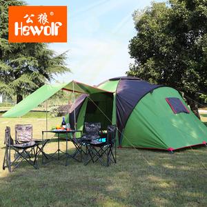 公狼户外两室一厅大帐篷 5-8人野外野营装备 沙滩露营防晒帐篷