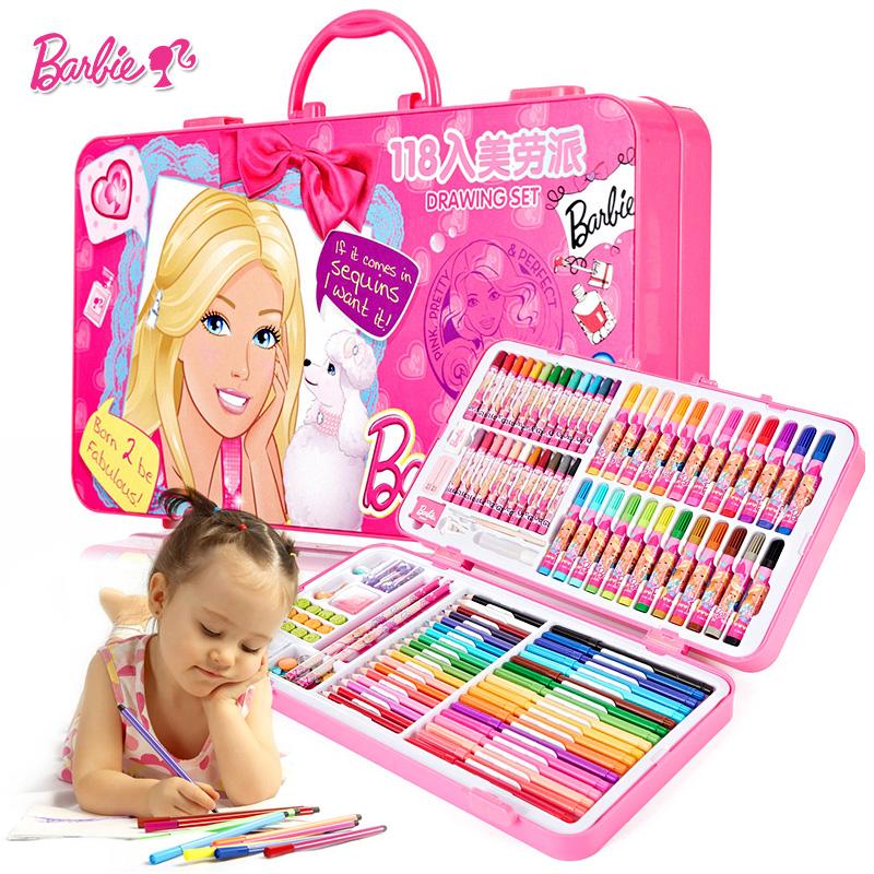 芭比禮物繪畫水彩筆套裝兒童節學習用品文具女孩玩具益智禮盒蠟筆