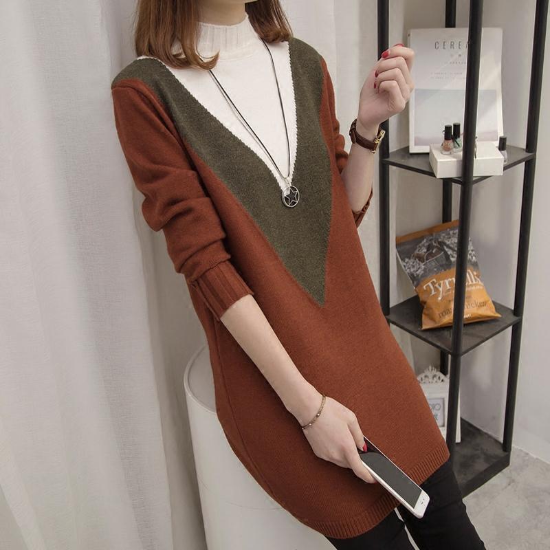 中长款民族风拼色韩版宽松毛衣女装秋冬季新款半高领针织衫毛衣裙