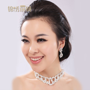 Fairview ago Cheng new bride marriage wedding white diamond necklace Necklace Earring Sets wave shape