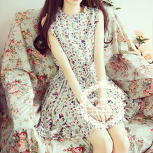 Han edition 2015 small pure and fresh and rural small broken flower sweet single-breasted waist agaric pendulum fashion chiffon dress