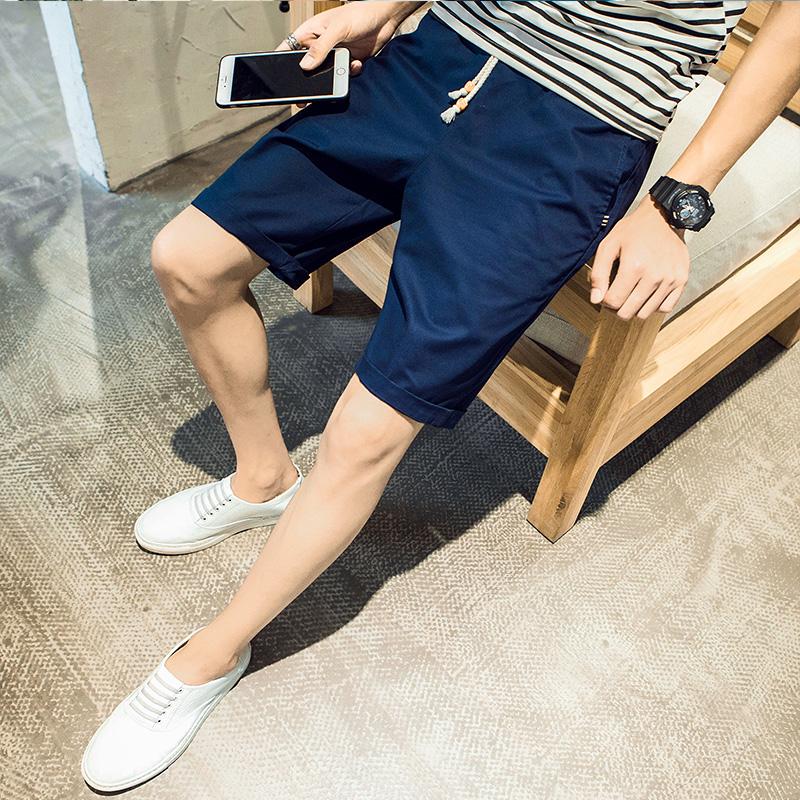 夏裝男士短褲 日係 純棉沙灘褲 男裝修身直筒青年五分褲男中褲