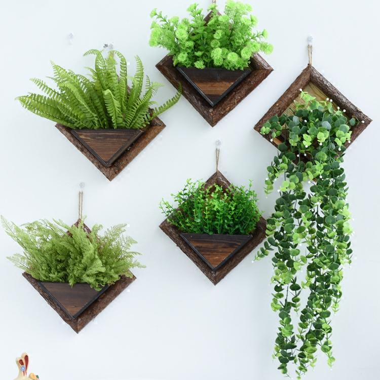田园复古木质花篮 墙面装饰吊挂花盆 花架 创意墙上装饰悬挂花器