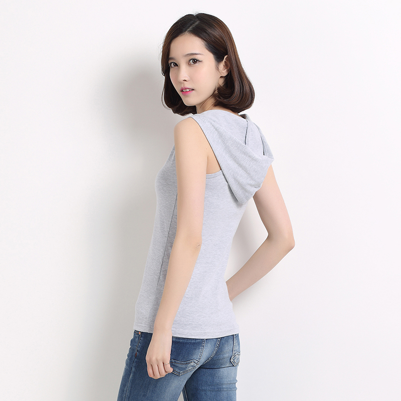 Round neck Cotton Camisole inside, womens slim hood, fashionable bottoming shirt, Korean version, thin sleeveless T-shirt