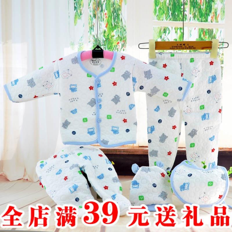 Нижнее белье набор 0-3 новорожденных теплые толстые чистый хлопок месяц новорожденных одежда для мужчин и женщин Весна и осень-зима