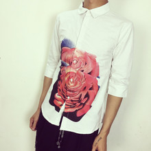 Summer wear han edition cultivate one's morality les handsome t seven roses printed sleeve shirt sleeve Oxford shirt in small size men's clothing