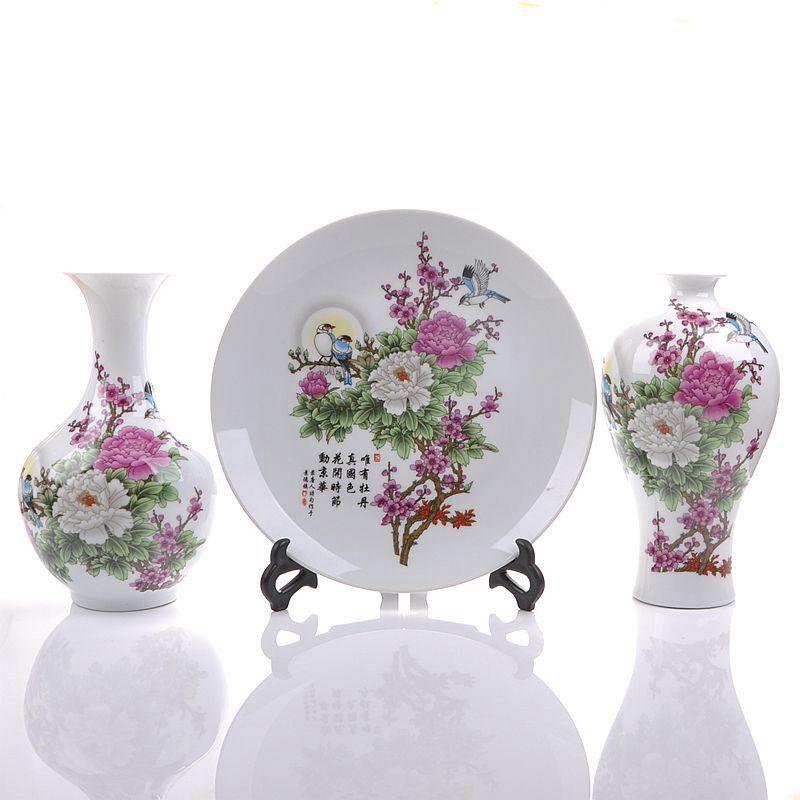 景諾景德鎮陶瓷器水點桃花三件套花瓶盤子 家飾工藝品擺件