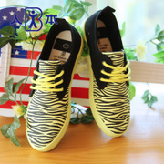 Fluorescent colour sweet Korean people this autumn of 2015 trends Zebra print low cut women shoes women's shoes shoes