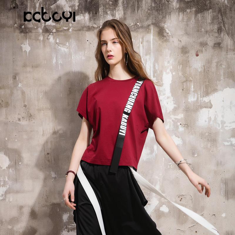 卡布依限量版原创设计师品牌女装夏季新品酒红圆领上衣短袖T恤女