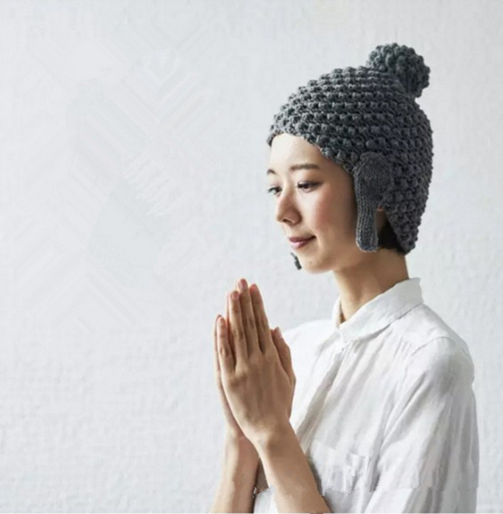 Nun Buddha Kwai tou wool knitted cap, male female voice shaking hat, quick funny funny tiktok will take photos