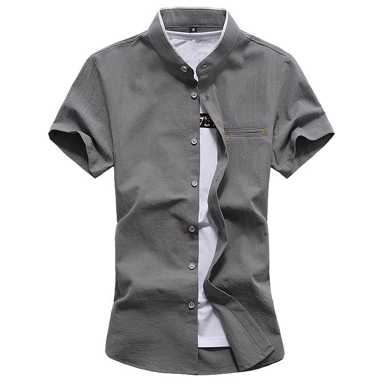 C2012 新款男士夏季大码休闲纯色小立领短袖衬衫P40 灰色