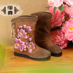 Chinese dance clearance specials female boots national wind layer bottom embroidered strap high boot women's jade margin