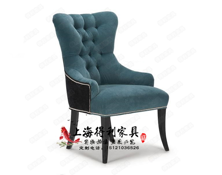 American solid wood cloth soft bag dining chair high-grade leather art living room leisure chair dressing chair Hotel Cafe Chair