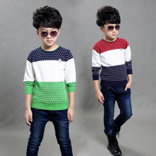 Children's clothes, 2015 new children's clothing han edition white boy fall cuhk children's children color matching sweater cotton sweaters