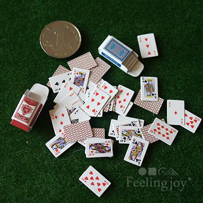 6分bjd娃娃小布兵人专用配件1:12迷你娃屋模型道具 纸牌扑克