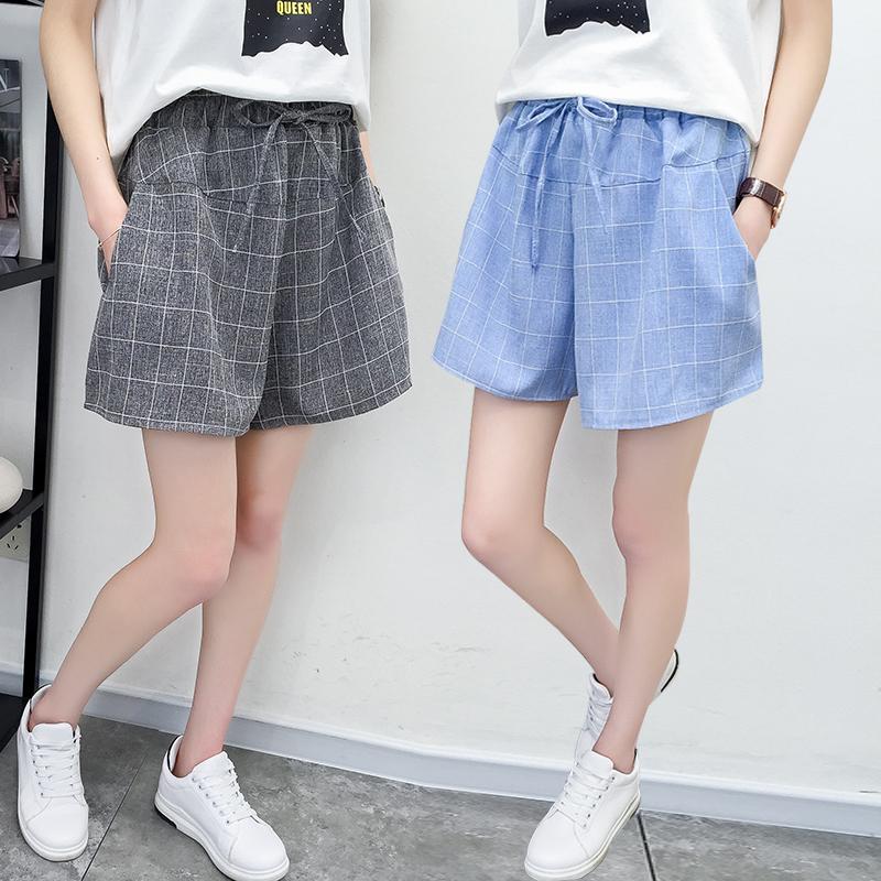 贵钻夏季裙裤女2018新款 韩版系带宽松大码阔腿休闲格子女士短裤