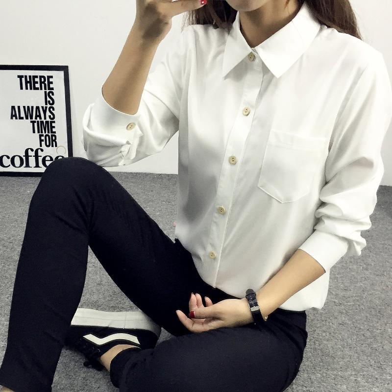 Пружина 2016 новый тонкий тонкий Джокер Хань вентилятор длинный рукав блузки дамы рубашки сорочки в конце прилива