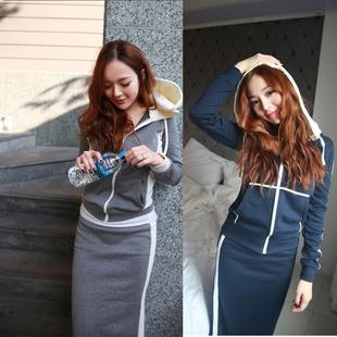 卫衣包臀套裙子两件套 女春秋2020新款 连帽开衫 休闲运动服套装 女装