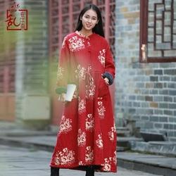 棉麻冬季女装秋冬中国民族风连衣裙女加厚长裙加绒袍子中式棉袍