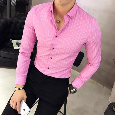 2017秋季新品型男长袖衬衣 韩版修身男士青年细条纹衬衫C11P35