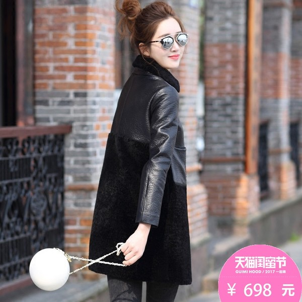 Qian Mei Sifei leather leather sheep-shorn wool coat fur coat special clearance Girls long paragraph plus cotton