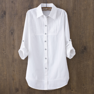 秋季韩版中长款全棉长袖打底白衬衫女 显瘦休闲修身打底男朋友风