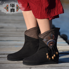 Chinese dance authentic end of old Beijing cloth shoes women's boots boots layer adding Gao Muzhu embroidered boots dancing