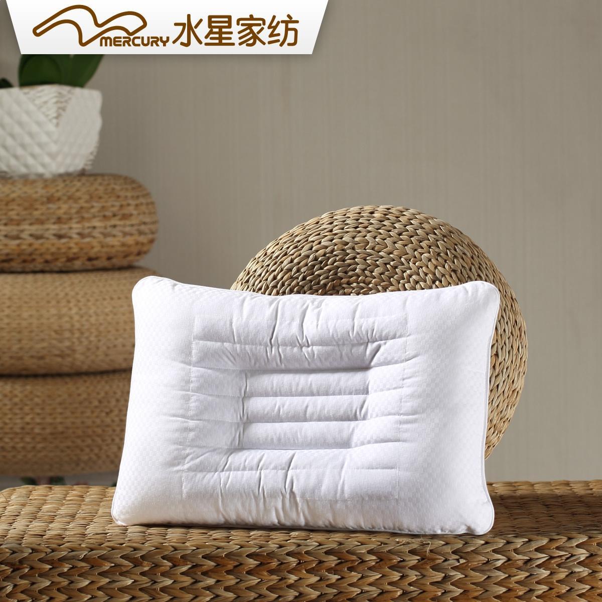 水星家紡 全棉護頸枕頭單人 兒童決明子枕健康枕芯 附贈枕套