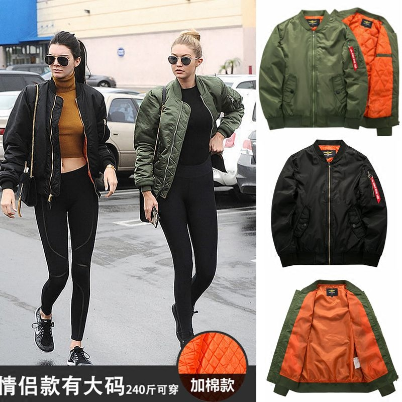 Pilots jacket mens and womens spring and autumn thin cotton jacket air force MA1 fashion plus size couples baseball suit