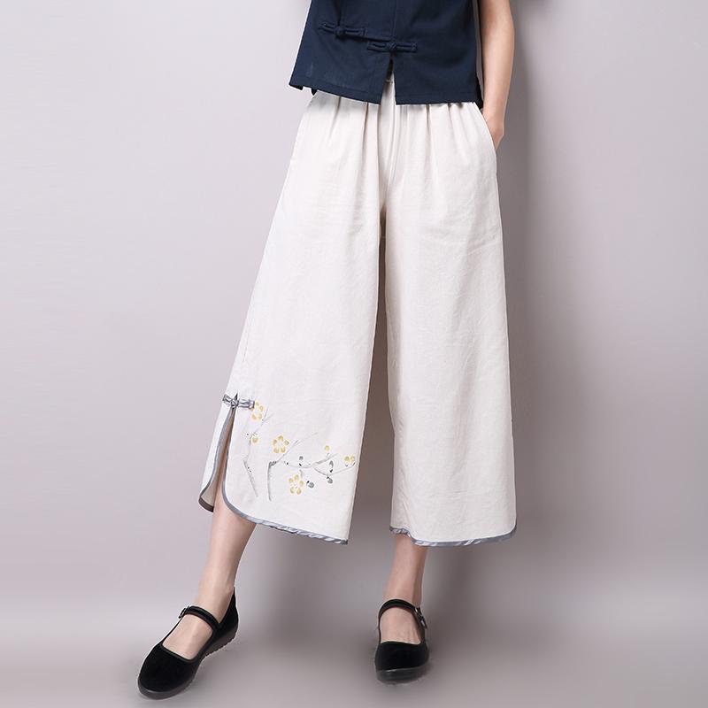 2018夏季女裤九分裤女休闲女士唐装裤子古装汉服阔腿裤民族风女装