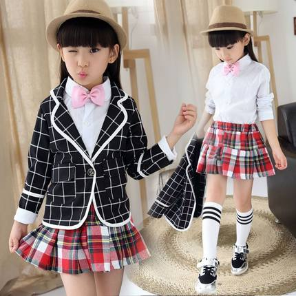 韩版棉混纺布儿童一粒扣孩子女童常规衣服格子卫衣实拍有模特套装