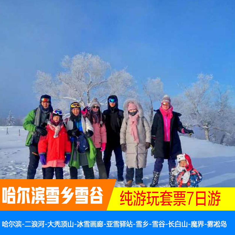 Harbin Ice and snow Gallery Snow Village Tourism snow Valley Changbai Mountain magic world rime Island exclusive private group 7-day Tour