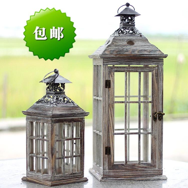 包邮 欧式做旧烛台铁艺马灯木质防风灯玻璃落地灯笼 婚礼路引道具