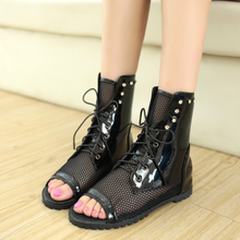 Special clearance increased net yarn in the flat hollow out fish mouth short boots female sandals rivet single shoe breathable leisure shoes