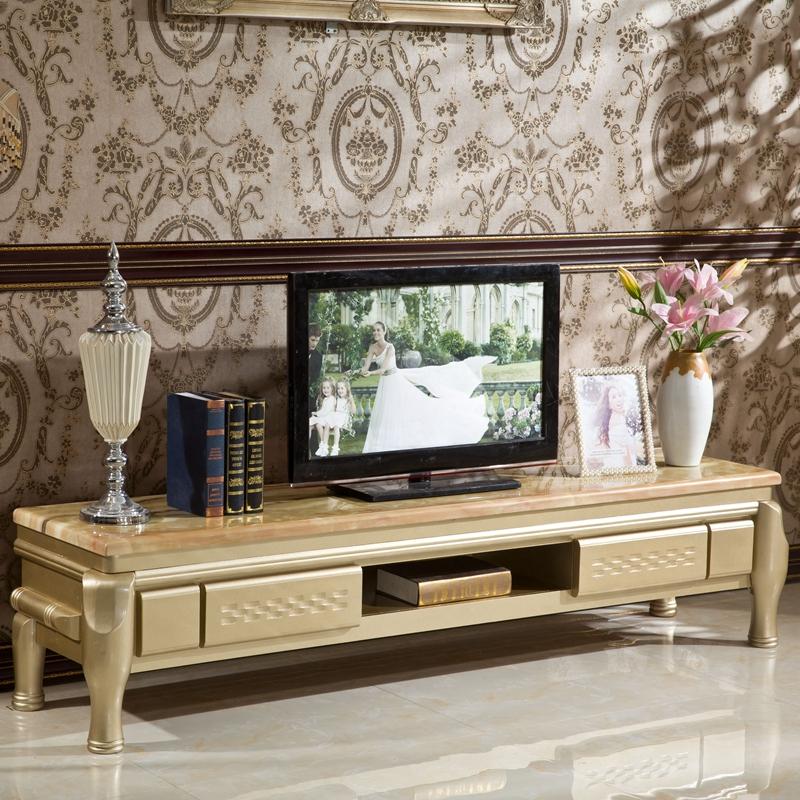 中国心欧式天然大理石电视柜香槟色实木地柜茶几组合客厅家具