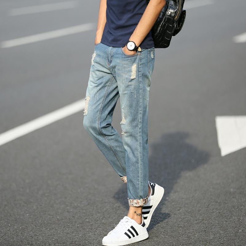 青少年日係小腳男士牛仔褲