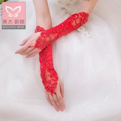 Beautiful and so pure luxury red/white lace fingerless gloves with the bride wedding dress accessories N0002