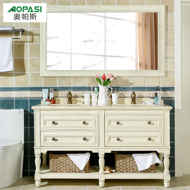 美式浴室柜组合 双盆浴室柜组合 洗手盆落地洗手台卫浴柜洗脸盆