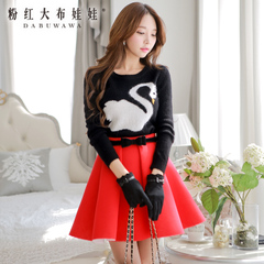 Cropped sweater pink doll 2015 new autumn blouses Swan t loose sweater