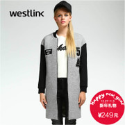 Westlink/West 2015 winter new coat of arms in the baseball uniform thick straight long mosaic woman coat