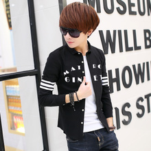 During the spring and autumn 2015 teenagers han edition cultivate one's morality shirt long sleeve shirt high school students coat tide of men's leisure clothes