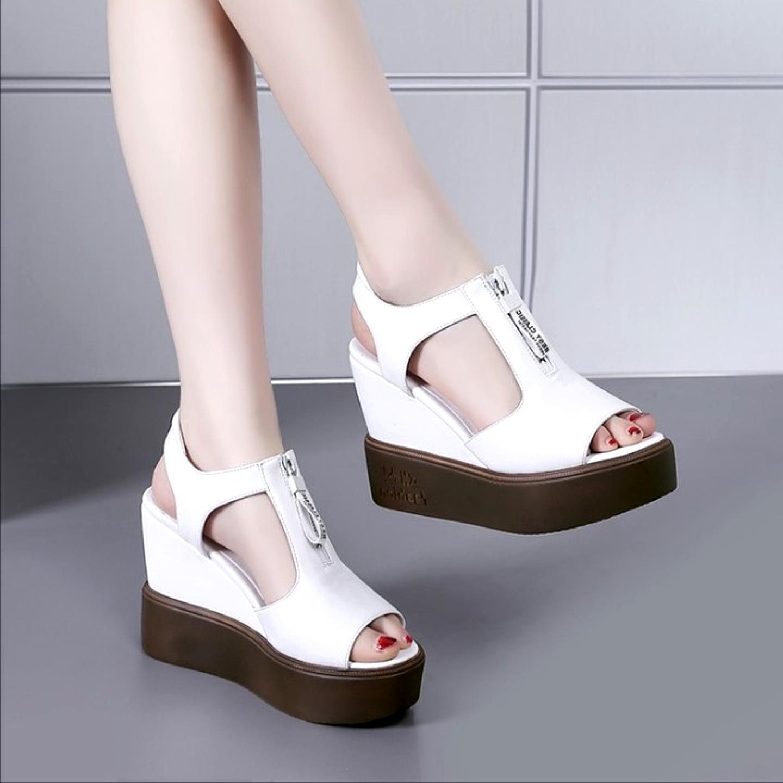 Sandals womens Korean version thick bottom waterproof platform casual shoes summer new slope heel student shoes fashion slope heel womens shoes