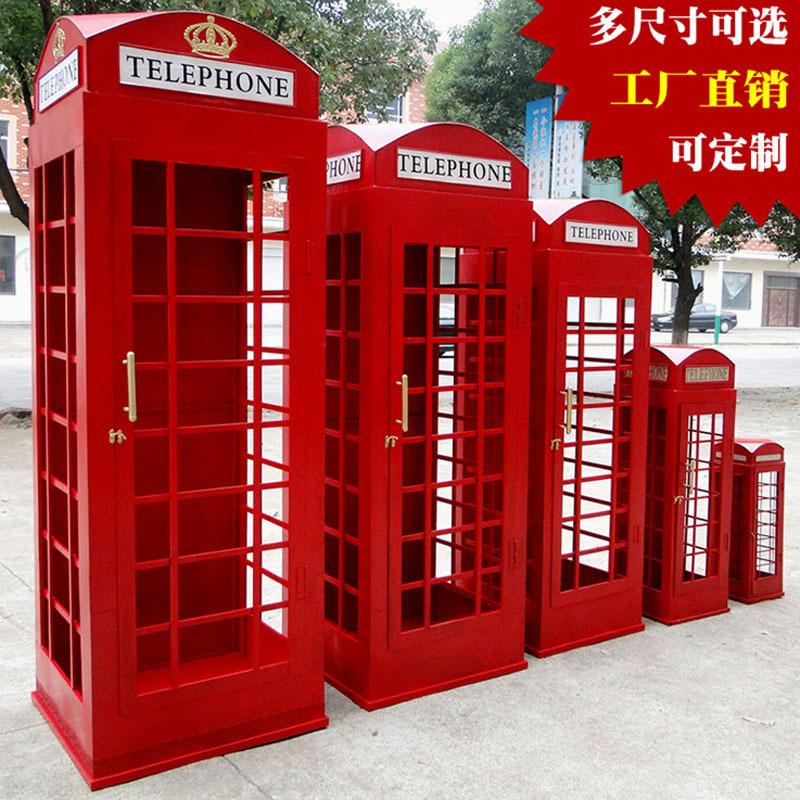 Ретро телефон павильон кофе магазин бар украшение шоу чэн строка реквизит великобритания красный железо телефон павильон