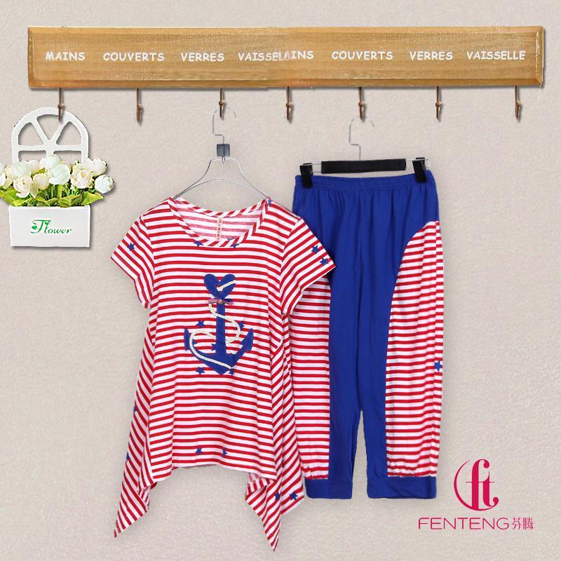 玛伦萨女士睡衣新款夏季特价清仓针织纯棉家居服红色海军条纹套装