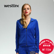 Westlink/West New Europe casual hooded dresses back 2015 winter print velvet coat
